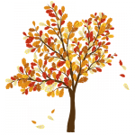 graphic of tree in fall color losing leaves