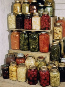 home preserved canned goods in mason jars