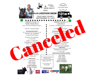 Cover photo for September 15, 2018 Livestock Show CANCELED