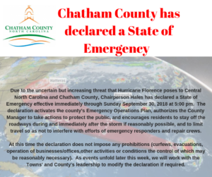 Cover photo for Chatham County Has Declared a State of Emergency