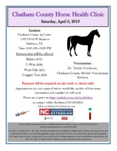 Cover photo for Chatham County Horse Health Clinic