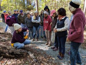 Laura Stewart helps identify mushrooms on the walk.