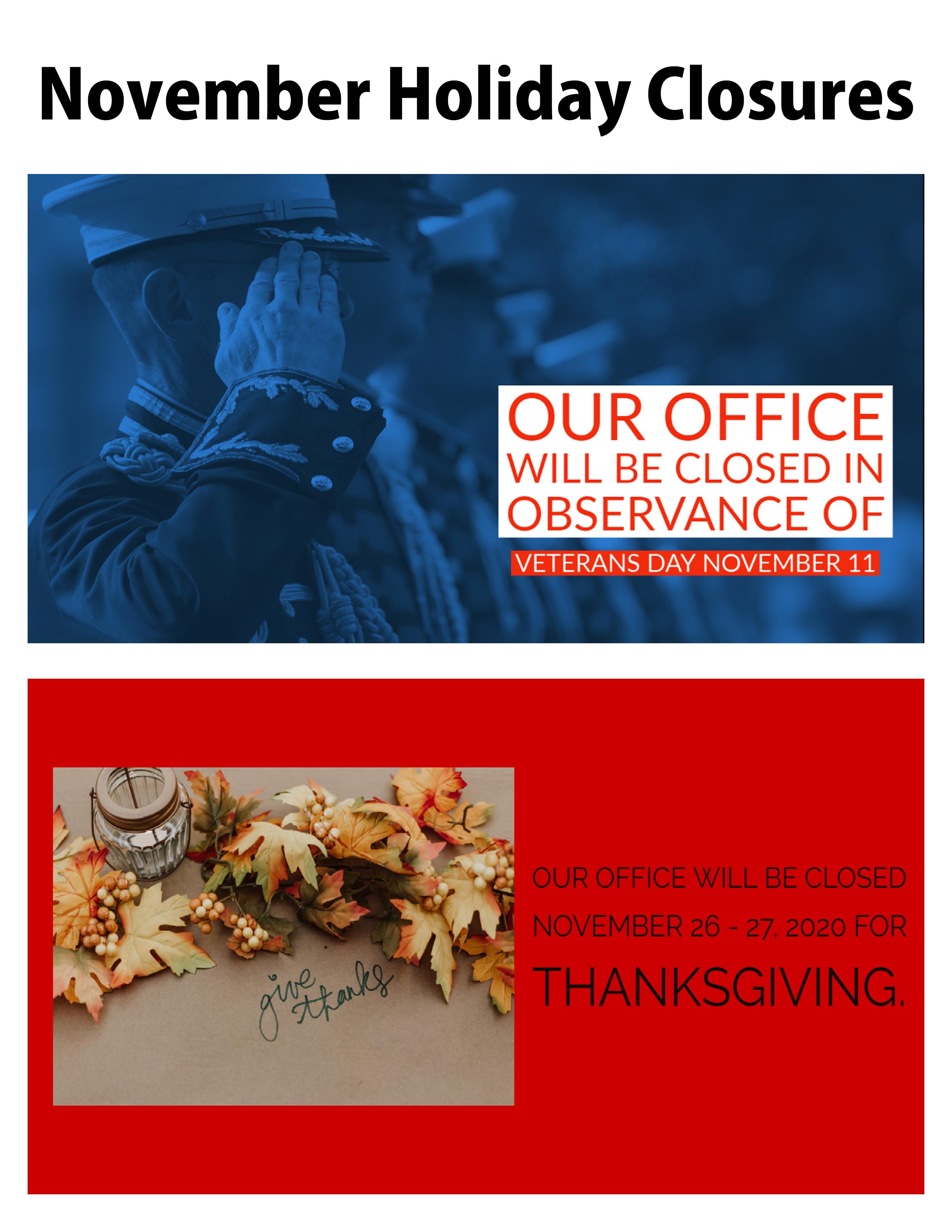 Holiday closure calendar